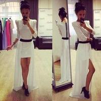 New Arrive Long Sleeve White Length Slit Dresses