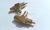 4pcs Gold Plated 1 Male to 2 Female RCA Splitter Adapter AV Video Audio