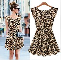 S-XL Hot Sale New 2014 Women Summer Fashion Casual Sexy Leopard Print Slim Fit One-Piece Dress