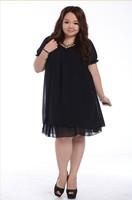 2013 Female Summer Large Big Size Clothing Folk Woven V Neck Dress Plus Size Fat Women Chiffon Short Sleeve Korean Fashion