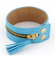 Free shipping PU bracelet  punk bracket with zipper bracelets for woman