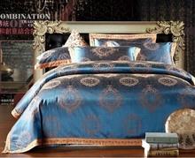2015 home textile Blue exotic Silk jacquard bedding sets bed sheet duvet cover comforter set 4 pcs designer beddings king queen(China (Mainland))