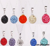 best jewelry!mixed can pick color Micro Pave clay ball women wedding ball Crystal Pendant Silver Plated Chain Shamballa Necklace
