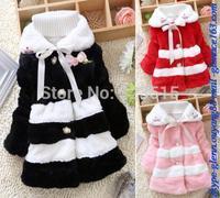 2004 New Girls Faux Fur Junoesque Baby Fleece Lined Coat Kids Winter Warm Jacket Free Shipping