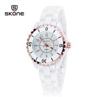 SKONE women dress wathes white ceramic women watch luminous analog quartz casual watches