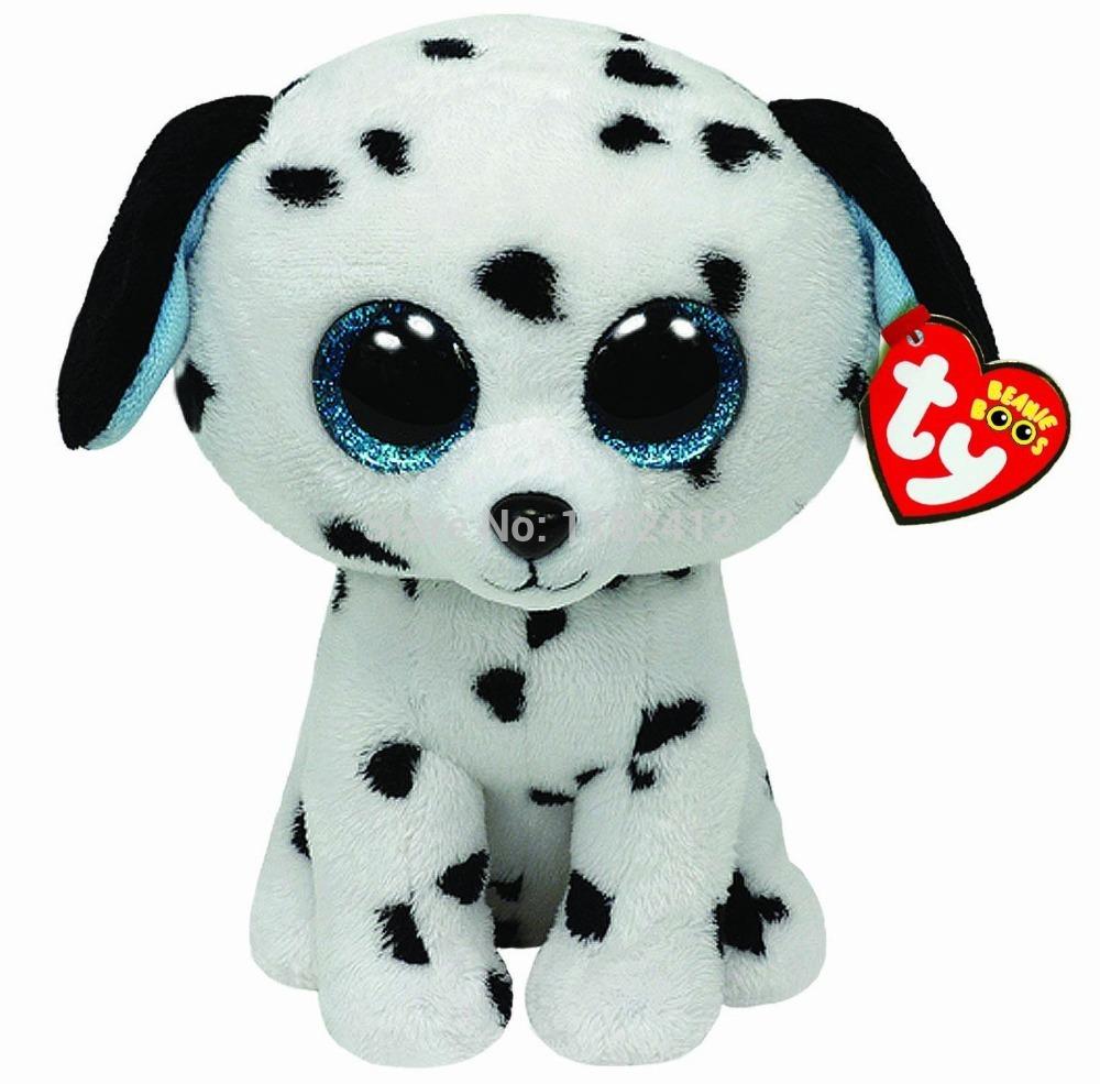 Ty Plush Animals Beanie Boos Dalmatian Dog Plush Toys 6'' 15cm TY Big Eyes Cute Stuffed Animals Children Toys for Kids Gift(China (Mainland))