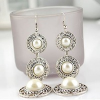 New 2014 Hot Sale Women's Earrings Fashion Jewelry Vintage Simulated Pearl Embellished Hat Shape Drop Earrings Free Shipping
