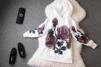 autumn winter designer women's jackets coats hoodies white pullover purple rose print dobby fashion casual brand hoodie -L054