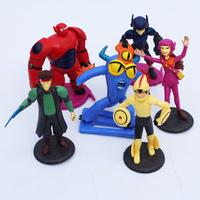 Cartoon Movie Big Hero 6 Hiro Baymax Fred Go Go Tomago Honey lemon Toys PVC Action Figures 6pcs/set Free Shipping