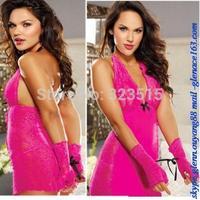 Hot Sales Women Sexy Babydoll V-neck Lace Dress Underwear Nightwear Sleepwear G-string Free Shipping