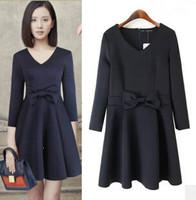New Stylish Girl Winter Dress with Bow Tie Three Quarter Sleeve V Neck Women Slim Dress 2 Colors YS93799