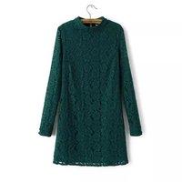 European Popular Women Lace Dress Long Sleeve O Neck Girl Slim Priming Dress 3 Colors YS93978