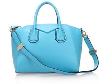Top quality original brand milled genuine calf leather sky blue tote handbag shoulder bag fashion gift free shipping wholesale