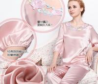 Luxury Twinset silk summer sleepwear women's set mulberry silk sleepwear silk three quarter-sleeve lounge M L XL