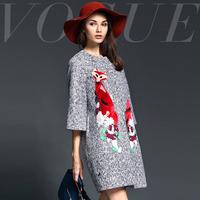 Fashion handmade 2014 fashion fox embroidery slim wool overcoat
