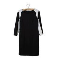 New Black and White Patchwork Lady Slim Dress Half Sleeve O Neck Women All Match Dress YS93960