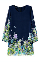 New Hot Sale Flowers Print Girl Sweet Chiffon Dress Long Sleeve O Neck Women Quality Dress YS93071