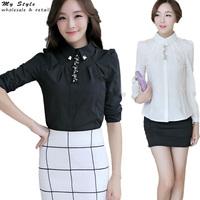 NEW Long Sleeve Plus Size Elegant Ladies Tops Fashion Office Formal Clothing Slim White Black Female Shirts Women Blouse 2142