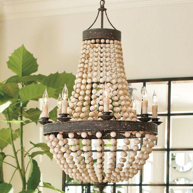 Handmade wooden beads vintage American country restaurant chandelier living room lights LED energy saving lamp designer lamp(China (Mainland))