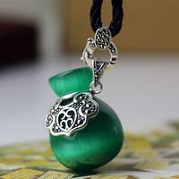 S925 pure silver vintage thai silver mark race gourd pendant necklace
