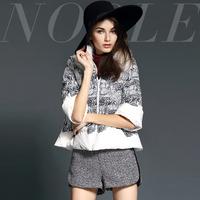 2014 fashion vintage print slim short down jacket