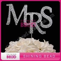 fashion shiny MRS clear rhinestone cake topper for wedding,free shipping,