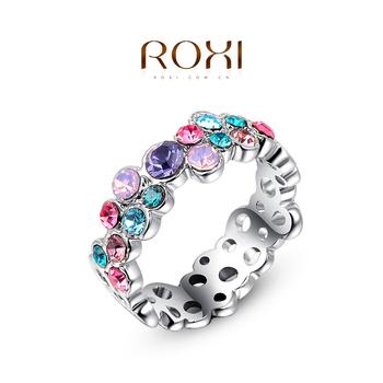 1 шт. бесплатная доставка! Мода красочные австрийский кольцо белый позолоченные подарок ...