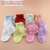 The princess children cotton socks a lace baby socks