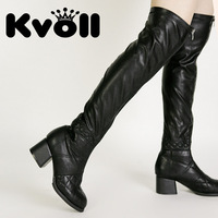 Kvoll free shipping PU black  beautiful  Europe and America round fight color waterproof high-heeled women's boots