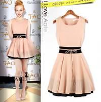 New 2014 Women Cute Sleeveless O-neck Patchwork Ball Gown Chiffon Tank Dress Casual Lady Sexy  Dress