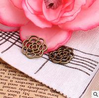 2015 Women Vintage Hollow Rose Charms DIY Metal Flower Pendant Charms