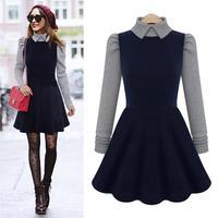 2014 Good Look Turn-down Collar Fitness Mini Vestidos Autumn Patchwork Long Sleeve Plus Size Women Dress 8201