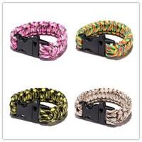 Outdoor Sporting products lifebelts portable bracelet multifunctional whistle life saving emergency bracele Survival Bracelets