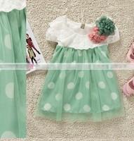 Retail Flowers Korean version princess dresses for girl dress Lace kids clothes mesh short sleeve Dot summer dress
