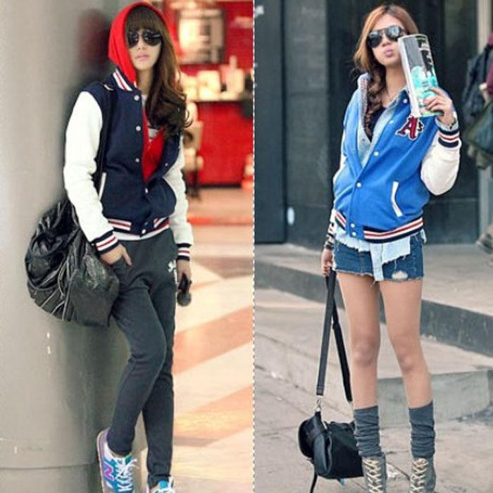 2014 1PCS New Leisure Korean Women Autumn Tides Leisure Baseball Uniform Jacket Coat imshopping(China (Mainland))