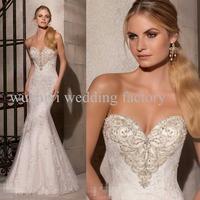 Vestidos De Noivas Beaded Sweetheart Modest Sleeveless Mermaid Romantic Lace Button Zipper Wedding Dress Vestido De Casamento
