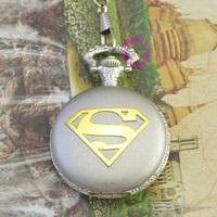 fashion silver classic logo super man superman pocket watch chian hour wholesale price good quality