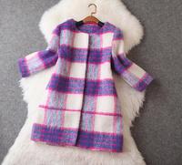 New arrival 2014 Winter women's fresh purple plaid long-haired overcoat outerwear