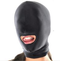 Sexy Toys Fetish Open Mouth Hood Mask Head Bondage Black Audlt Games Sex Products