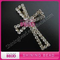 fashion new cross rhinestone brooch flat back,free shipping.hot sale rhinestone cross brooch for sale