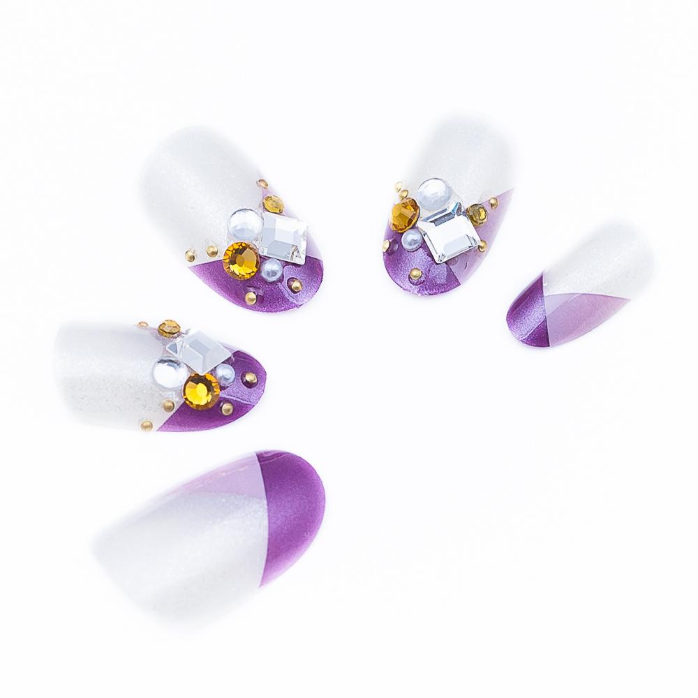 Nail Art Pre-design Acrylic Fake Nails Tips Short Purple Rhinestone 24 Piece Set(China (Mainland))