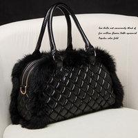 2014 rabbit fur bag women's handbag formal fur bags portable bag messenger bag