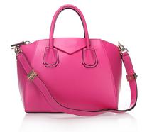 Top quality original brand milled genuine calf leather hot pink tote handbag shoulder bag fashion gift free shipping wholesale