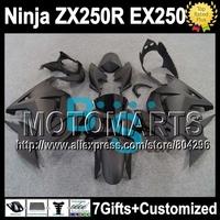 7gifts+ ZX250R For Kawasaki all flat black Ninja EX250  250R 17Y80 2008 2009 2010 2011 2012 EX 250 08 09 10 11 12 matte Fairing