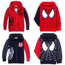 Girls & boys Spider Man Clothes 2Y-8Y Kids Boys Sweatshirt Hoodies Jacket Coat Outwear(China (Mainland))