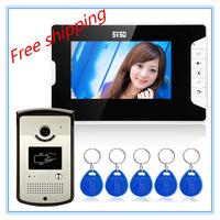 """7"""" video door phone video intercom Night Vision Function Color camera RFID Reader Unlocking"""