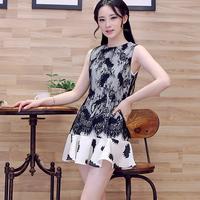 Free shipping! 2014 summer fashion gentlewomen lace patchwork pattern ruffle one-piece dress! 325370