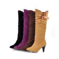 2014 new arrive fahsion  autumn  winter fashion bow nubuck leather stiletto boots for women  plus  big size 203#
