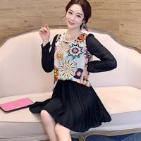 Free shipping! 2014 summer fashion gentlewomen flower chiffon one-piece dress! C093001