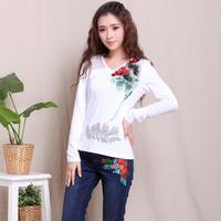 Good Look Fitness Cotton V-neck Women Shirt 2014 National Style Long Sleeve Print Slim Plus Size Autumn Tops 5793